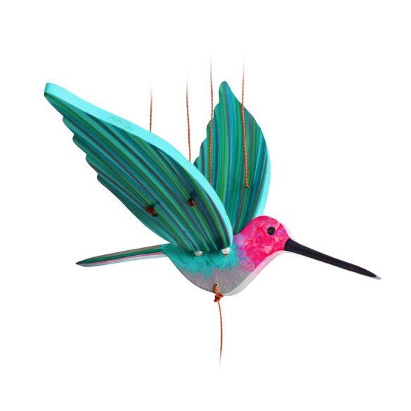 mobile bois artisanal colibri vert